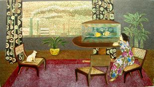Relaxation 1 by Subhamita Sarker, Expressionism Painting, Wood Cut on Paper, Brown color