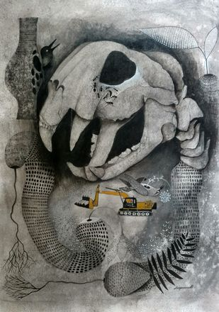 This is not the place to live by Jayavanth Shettigar, Conceptual Painting, Acrylic on Canvas, Gray color