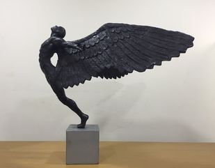 Flight by Vernika, Art Deco Sculpture | 3D, Metal, Gray color
