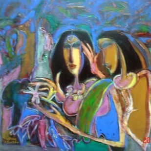 Friends & Flowers by Dhiraj Choudhury, Expressionism Painting, Acrylic on Canvas, Brown color