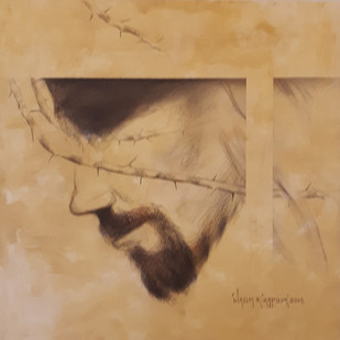 "Jesus, Conte on Canvas, Yellow, Cream, Black Colours by Contemporary Artist ""In Stock"" by Wasim R Kapoor, Illustration Painting, Conte on Paper, Brown color"