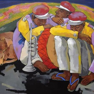 "Bandwala, Acrylic on Canvas, Red, Green, Black, Yellow Colours by Contemporary Artist ""In Stock"" by Ashoke Mullick, Expressionism Painting, Acrylic on Canvas, Brown color"