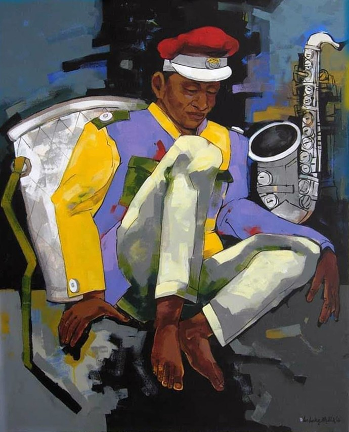 """Bandwala, Acrylic on Canvas, Red, Green, Black, Yellow Colours by Contemporary Artist """"In Stock"""" by Ashoke Mullick, Pop Art Painting, Acrylic on Canvas, Gray color"""