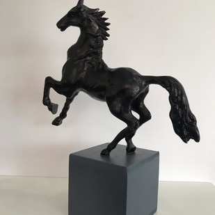 Galloping horse by Vernika, Art Deco Sculpture | 3D, Metal, Gray color