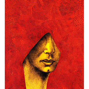 Untitled by Shishir Bhatt, Expressionism Painting, Acrylic on Canvas, Red color