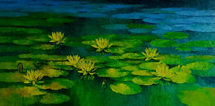 Waterlilies - 106 by Swati Kale, Expressionism Painting, Oil on Canvas, Green color