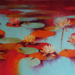 Waterlilies - 107 by Swati Kale, Expressionism Painting, Oil on Canvas, Brown color