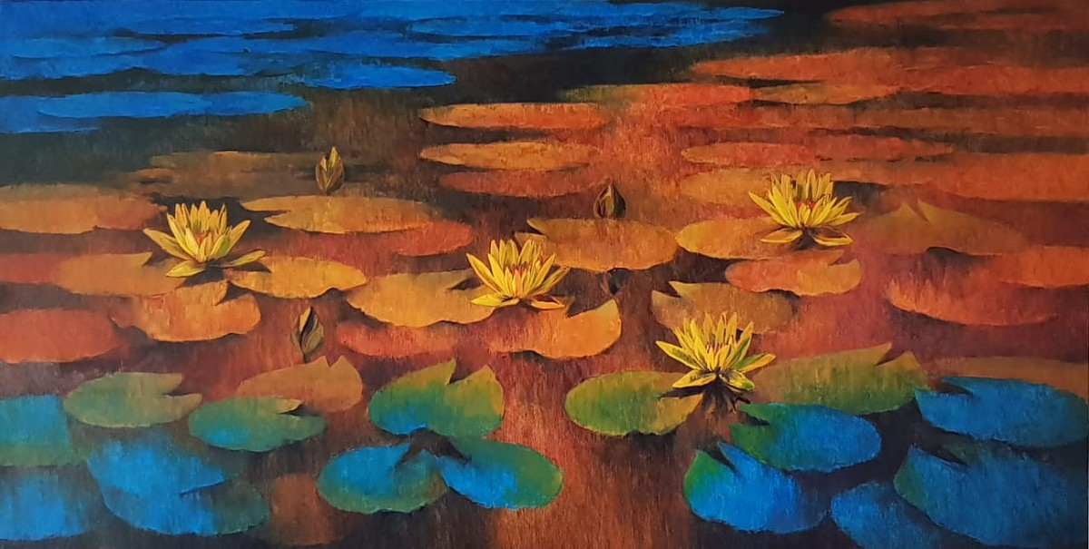 Waterlilies - 108 by Swati Kale, Expressionism Painting, Oil on Canvas, Brown color