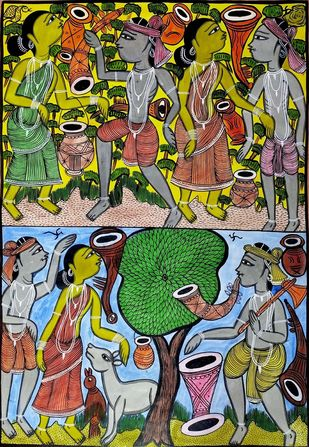 Festivities among Santhal Tribe by Bahadur Chitrakar, Folk Painting, Natural colours on paper, Green color