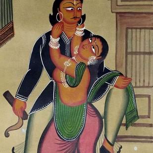 Babu and Bibi by Susama Chitrakar, Folk Painting, Natural colours on paper,