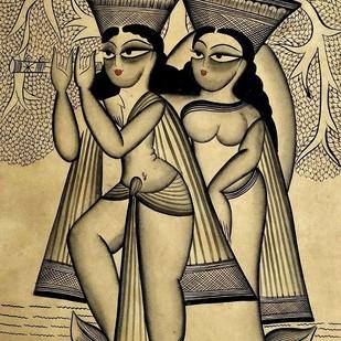 Radha-Krishna in Kamyavan by Rupsona Chitrakar, Folk Painting, Natural colours on paper, Beige color