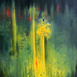 Untitled 3 by anjali kaul, Abstract Painting, Acrylic on Canvas, Green color