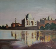 TAJMAHAL by KAMINI MINOCHA, Expressionism Painting, Oil on Canvas, Brown color
