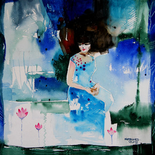 She and the lotus pond 1 by Mopasang Valath, Impressionism Painting, Watercolor on Paper, Green color
