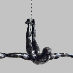 The Diver (set of 3) by Vernika, Art Deco Sculpture | 3D, Metal, Gray color