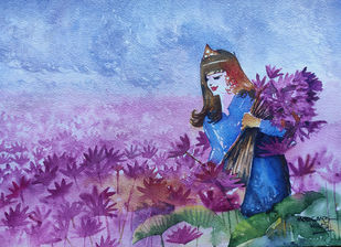 Princess of Pink by Mopasang Valath, Fantasy Painting, Watercolor on Paper, Cyan color