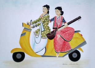Musical Bibi by Bhaskar Chitrakar, Folk Painting, Natural colours on paper, Pink color