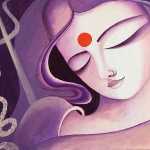 Shakthi by Uma Makala, Traditional Painting, Acrylic on Canvas, Pink color