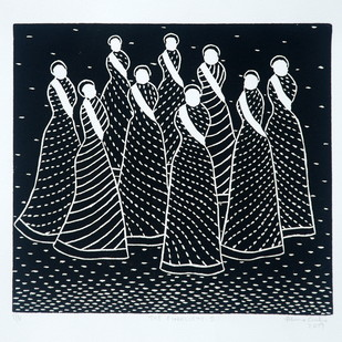 The finalists-II by Hemavathy Guha, Expressionism Printmaking, Wood Cut on Paper, Gray color