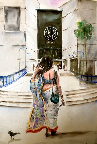 Calcutta City of Love- Nandan Afternoons by Avanish Trivedi, Impressionism Painting, Watercolor on Paper, Beige color