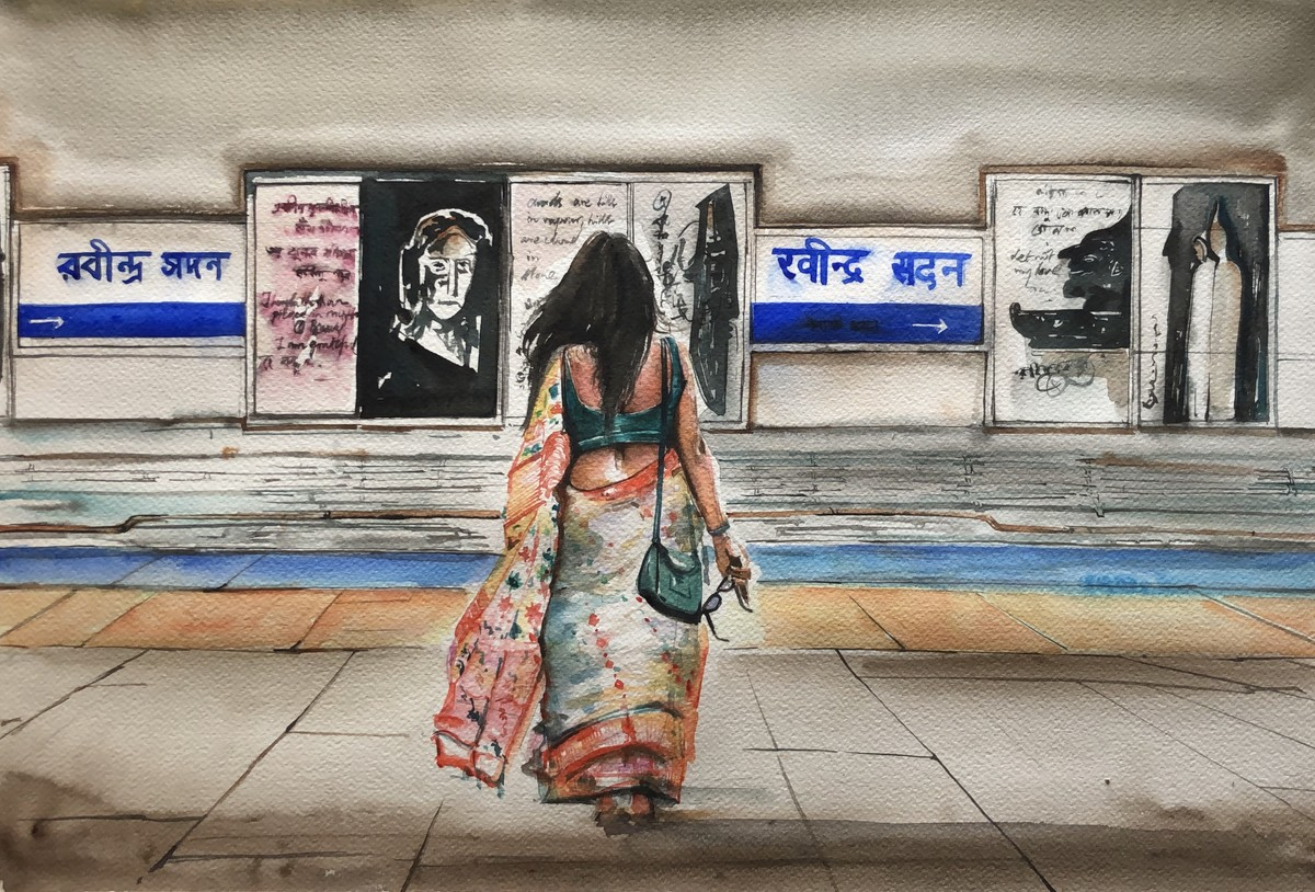 Rabindra Sadan Evenings..Exide More by Avanish Trivedi, Impressionism Painting, Watercolor on Paper, Brown color