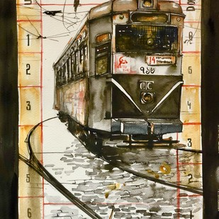 Calcutta Tram Tickets by Avanish Trivedi, Impressionism Painting, Watercolor on Paper, Brown color