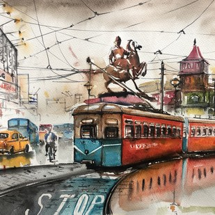 Shyambazar More by Avanish Trivedi, Impressionism Painting, Watercolor on Paper, Beige color