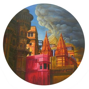 VARANASI-18 by Anil Kumar Yadav, Photorealism Painting, Acrylic on Canvas, Brown color