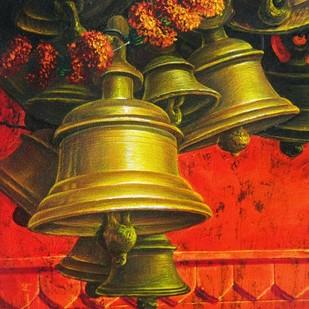 ARADHANA-22 by Anil Kumar Yadav, Realism Painting, Acrylic on Canvas, Brown color