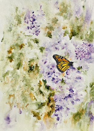 Monarch by Nisha Sehjpal, Expressionism Painting, Watercolor on Paper, Beige color