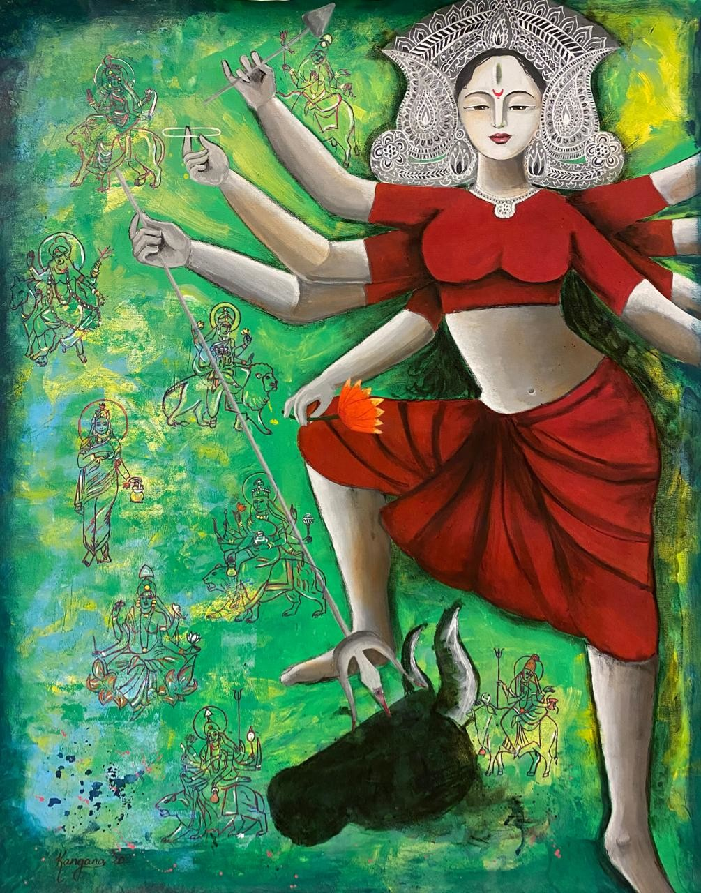 Goddess Durga- the powerful by Kangana Vohra , Expressionism Painting, Acrylic & Graphite on Canvas, Green color