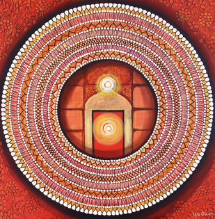 Mandala - Awakening Light Inside by NITU CHHAJER, Decorative Painting, Acrylic on Canvas, Brown color