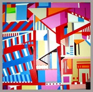 Cityscape IV by Ritu Aggarwal, Geometrical Painting, Acrylic on Canvas, Pink color