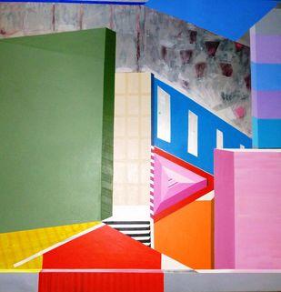 Gravity of Pink Digital Print by Ritu Aggarwal,Geometrical