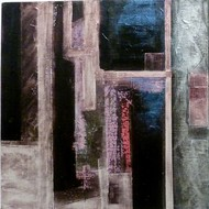 Subway by Ritu Aggarwal, Geometrical Painting, Acrylic & Graphite on Canvas, Brown color