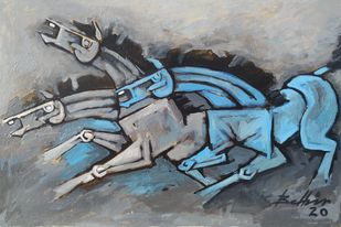 Race by Balbir Singh, Expressionism Painting, Acrylic on Board, Gray color
