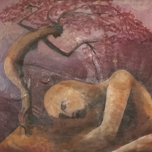 BLESSINGS by KAMINI MINOCHA, Fantasy Painting, Oil on Canvas, Brown color