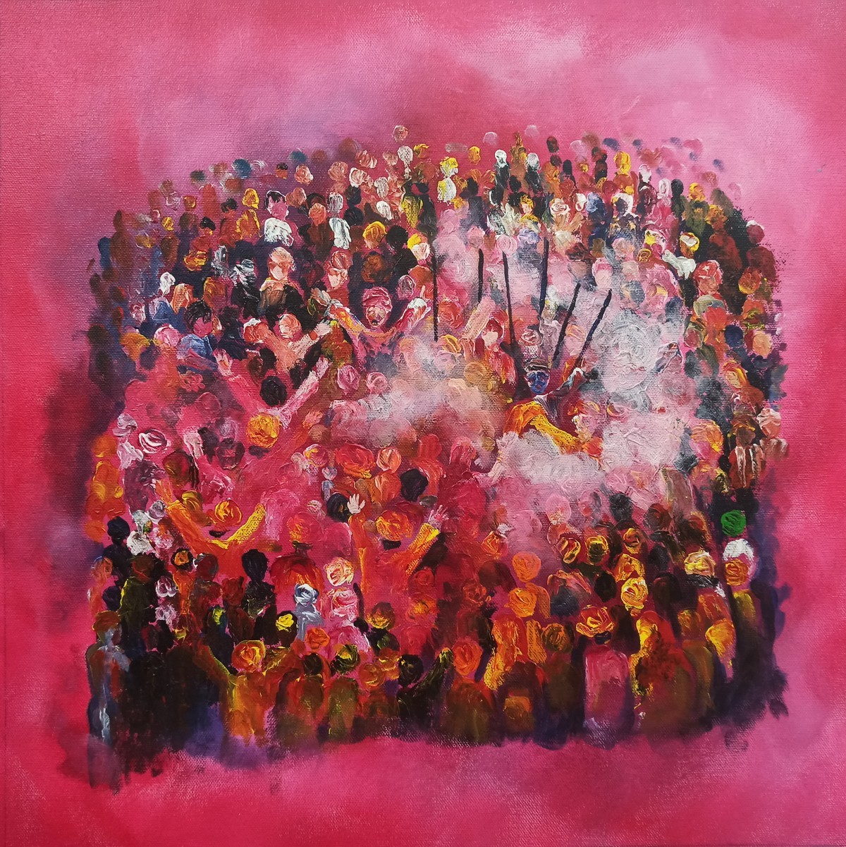 The Holi by Herendra Swarup , Abstract Painting, Acrylic on Canvas, Brown color