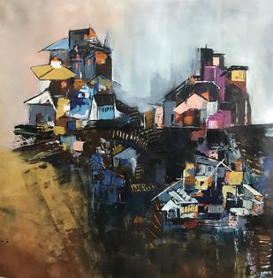 Land of the hills by sapna anand, Expressionism Painting, Acrylic on Canvas, Gray color