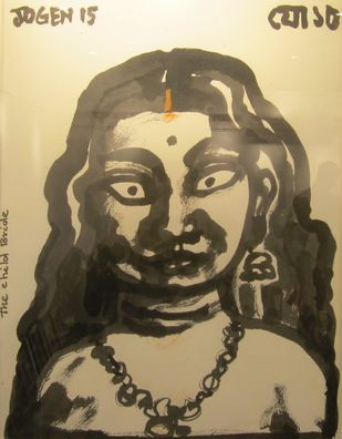 The Child Bride by Jogen Chowdhury, Illustration Painting, Ink and brush on paper board, Beige color