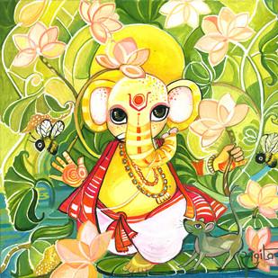 Bal Ganesha by Sangita Gupta, Expressionism Painting, Acrylic on Canvas, Beige color