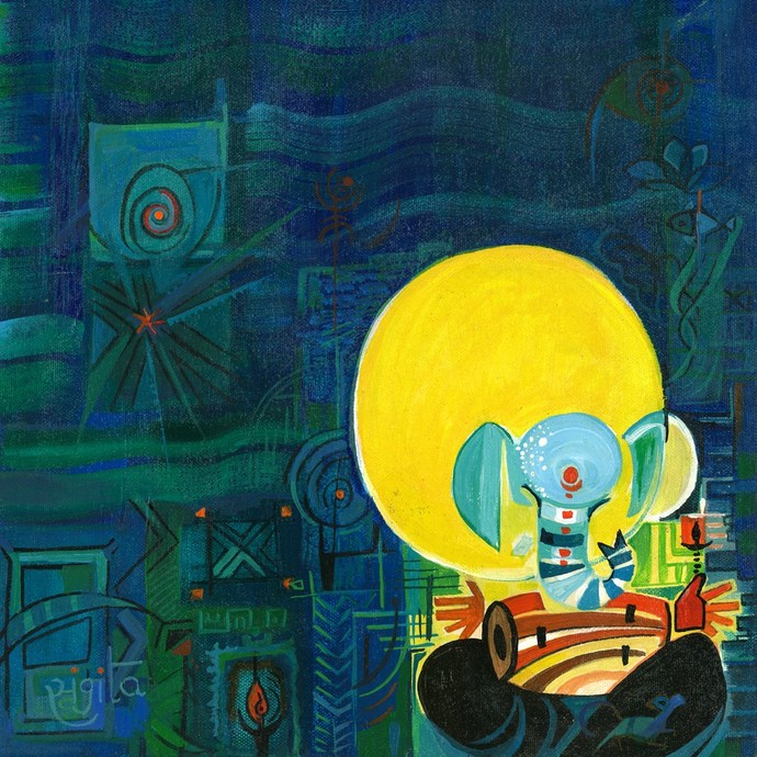 Ganesha with Dhol by Sangita Gupta, Expressionism Painting, Acrylic on Canvas, Green color