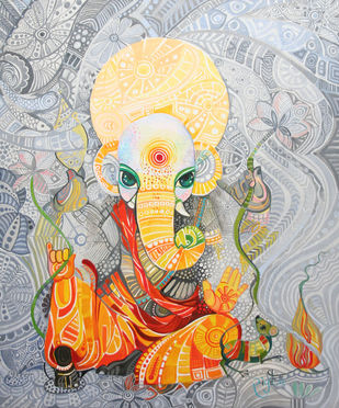 Ganesha the ray of hope by Sangita Gupta, Expressionism Painting, Acrylic on Canvas, Gray color