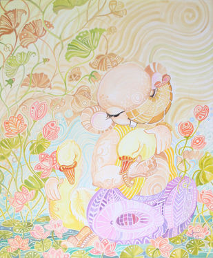 Ganesha- The Swan lover by Sangita Gupta, Expressionism Painting, Acrylic on Canvas, Beige color