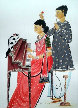 Musical 'Bibi' by Bhaskar Chitrakar, Folk Painting, Natural colours on paper, Cyan color