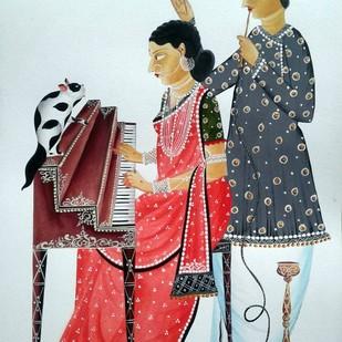 Musical 'Bibi' by Bhaskar Chitrakar, Folk Painting, Natural colours on paper, Cyan color