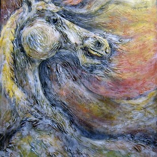 Surreal Stallion by Dhiren Sasmal, Expressionism Painting, Mixed Media on Canvas, Brown color
