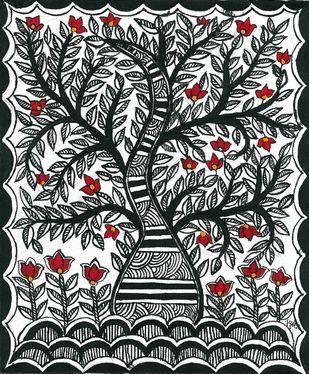 Madhubani - Tree of Life Digital Print by Jyoti Mallick,Folk