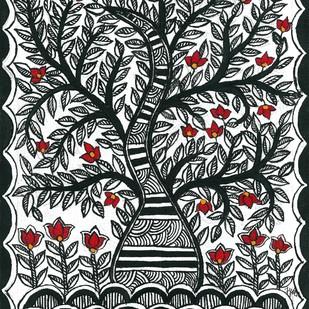 Madhubani - Tree of Life by Jyoti Mallick, Folk Painting, Acrylic & Ink on Canvas, Gray color