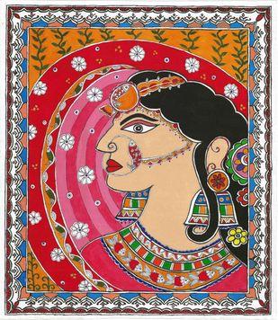 Madhubani - Bride in ghunghat Digital Print by Jyoti Mallick,Folk